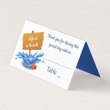 Beach Themed Nautical Blue Ocean Beach Summer Wedding Party Place Card