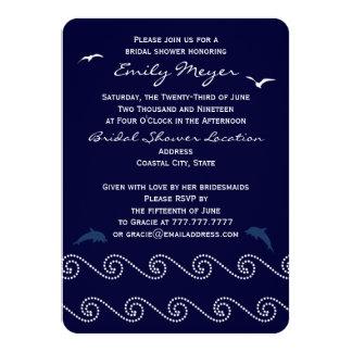 Nautical Blue Ocean Waves Bridal Shower Invitation