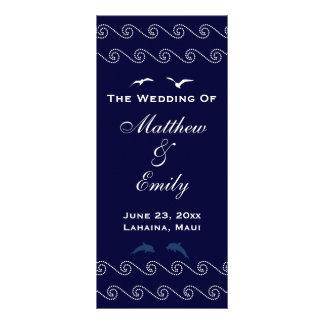 Nautical Blue Ocean Waves Wedding Program Customized Rack Card