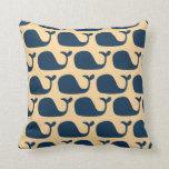 Nautical Blue Ocean Whale Pillow