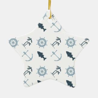 Nautical Blue Double-Sided Star Ceramic Christmas Ornament