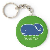 Nautical Blue Preppy Whale Personalized Keychain