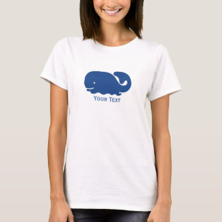 Nautical Blue Preppy Whale Personalized T-Shirt
