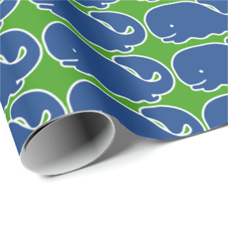 Nautical Blue Preppy Whale Personalized Wrapping Paper
