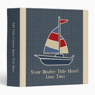 Nautical Blue, Red, Cream Sailboat Custom 3 Ring Binder