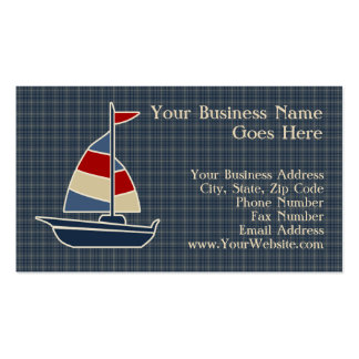 Nautical Blue, Red, Cream Sailboat Custom Double-Sided Standard Business Cards (Pack Of 100)