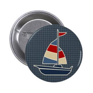 Nautical Blue, Red, Cream Sailboat Custom Pinback Buttons