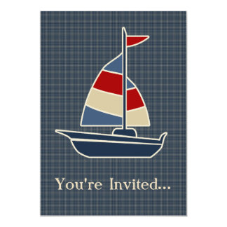 Nautical Blue, Red, Cream Sailboat Custom Card