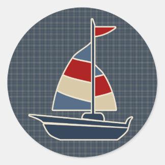 Nautical Blue, Red, Cream Sailboat Custom Classic Round Sticker