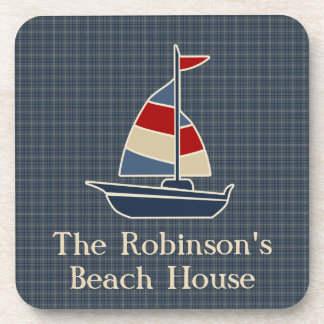Nautical Blue, Red, Cream Sailboat Custom Drink Coaster