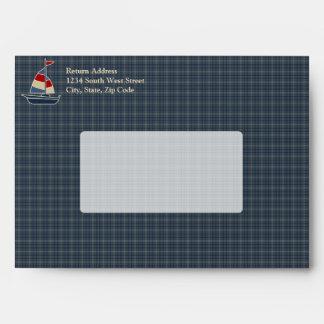 Nautical Blue, Red, Cream Sailboat Custom Envelope