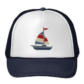 Nautical Blue, Red, Cream Sailboat Custom Mesh Hat