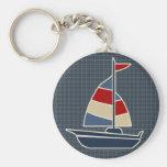 Nautical Blue, Red, Cream Sailboat Custom Keychain