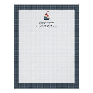 Nautical Blue, Red, Cream Sailboat Custom Letterhead
