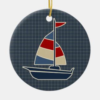 Nautical Blue, Red, Cream Sailboat Custom Ornaments