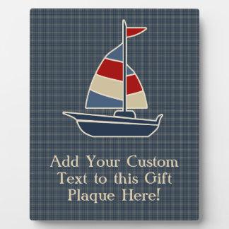 Nautical Blue, Red, Cream Sailboat Custom Plaque