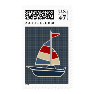 Nautical Blue, Red, Cream Sailboat Custom Postage