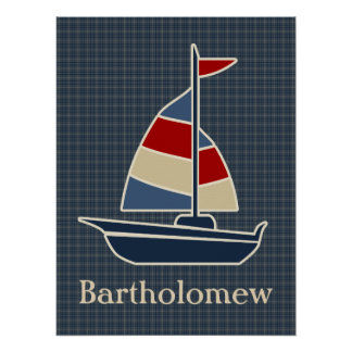 Nautical Blue, Red, Cream Sailboat Custom Poster