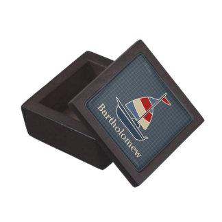 Nautical Blue, Red, Cream Sailboat Custom Premium Keepsake Boxes