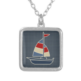 Nautical Blue, Red, Cream Sailboat Custom Silver Plated Necklace