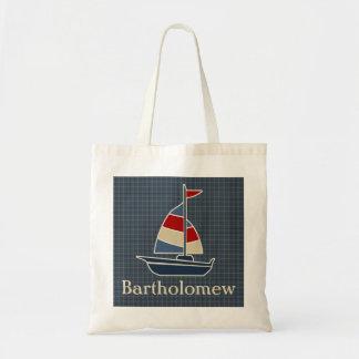 Nautical Blue, Red, Cream Sailboat Custom Tote Bag