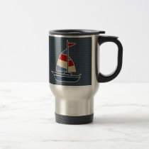 Nautical Blue, Red, Cream Sailboat Custom Travel Mug