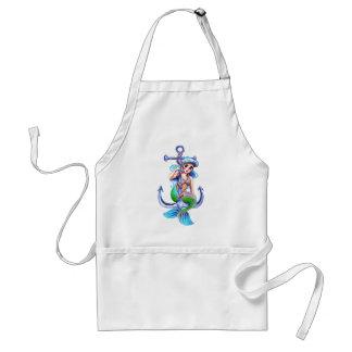 Nautical Blue Retro Mermaid Lady Apron