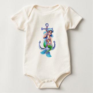 Nautical Blue Retro Mermaid Lady Baby Bodysuit