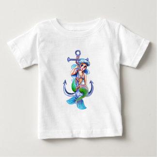 Nautical Blue Retro Mermaid Lady Baby T-Shirt