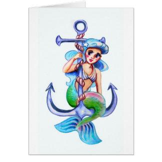 Nautical Blue Retro Mermaid Lady Card