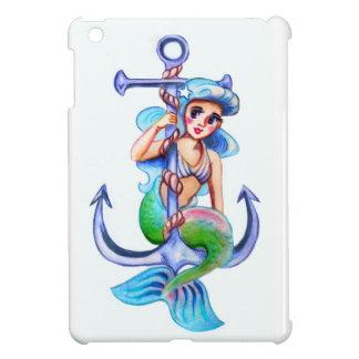 Nautical Blue Retro Mermaid Lady Case For The iPad Mini