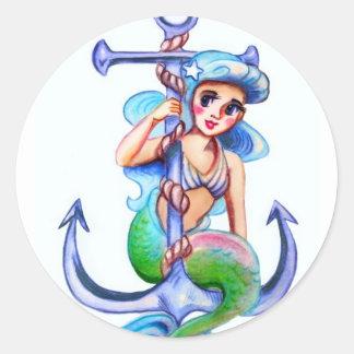 Nautical Blue Retro Mermaid Lady Classic Round Sticker