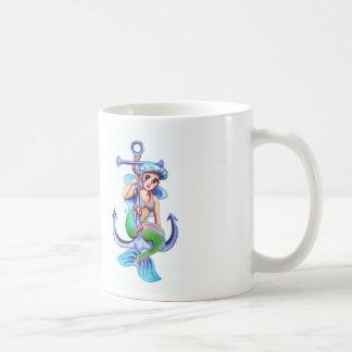 Nautical Blue Retro Mermaid Lady Coffee Mug