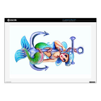 Nautical Blue Retro Mermaid Lady Decals For Laptops