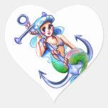 Nautical Blue Retro Mermaid Lady Heart Sticker
