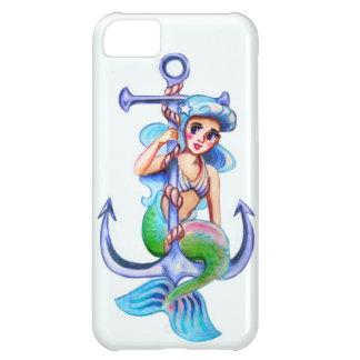 Nautical Blue Retro Mermaid Lady iPhone 5C Cover