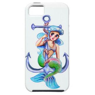 Nautical Blue Retro Mermaid Lady iPhone SE/5/5s Case
