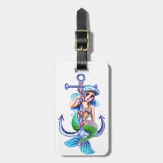 Nautical Blue Retro Mermaid Lady Luggage Tag