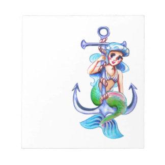 Nautical Blue Retro Mermaid Lady Notepad