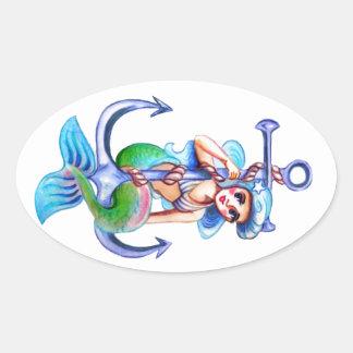 Nautical Blue Retro Mermaid Lady Oval Sticker
