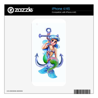 Nautical Blue Retro Mermaid Lady Skins For iPhone 4S