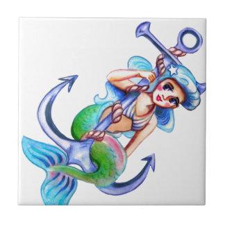 Nautical Blue Retro Mermaid Lady Tile