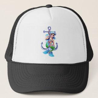 Nautical Blue Retro Mermaid Lady Trucker Hat