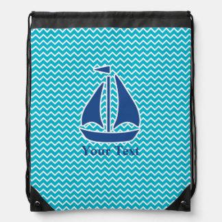 Nautical Blue Sail Boat and Chevron Personalized Drawstring Bag