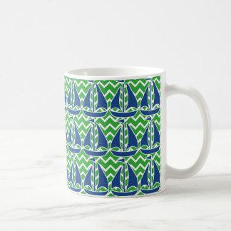Nautical Blue Sailboat Custom Chevron pattern Coffee Mug
