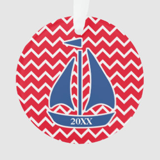 Nautical Blue Sailboat Custom Chevron pattern Ornament