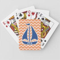 Nautical Blue Sailboat Custom Chevron pattern Playing Cards