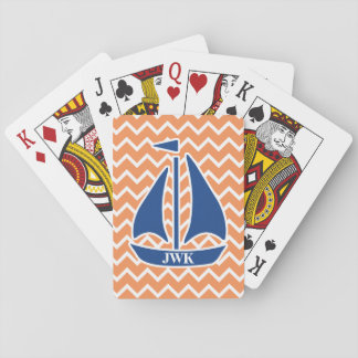 Nautical Blue Sailboat Custom Chevron pattern Playing Cards