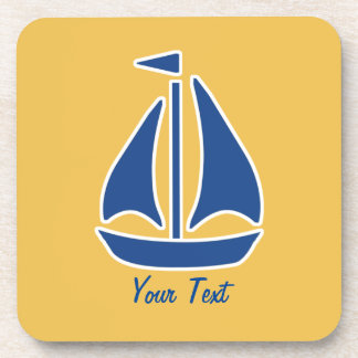 Nautical Blue Sailboat preppy personalized Beverage Coaster