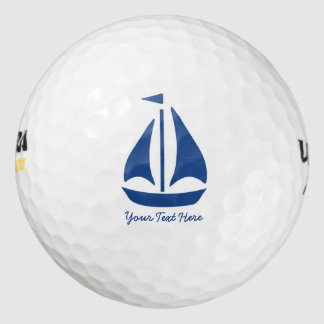 Nautical Blue Sailboat preppy personalized Golf Balls